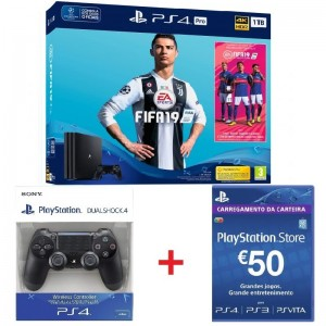 Consola Sony PlayStation 4 PRO 1TB + FIFA 19 + DS4 Black + PSN 50€