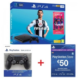 Consola Sony PlayStation 4 Slim 1TB + FIFA 19 + DS4 Black + PSN 50€
