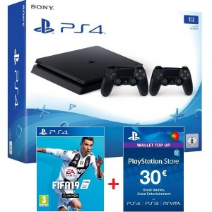 Consola Sony PS4 1TB + 2 Comandos DualShock 4 Black + FIFA 19 +  PSN 30€
