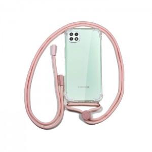 Capa Transparente COOL para Samsung Galaxy A22 5G com Cabo Rosa