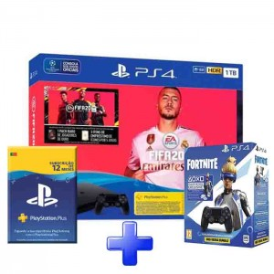 Consola Sony PlayStation 4 PS4 1TB + FIFA 20  + DS 4 Black Fortnite + PS Plus 1 Ano