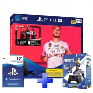 Consola Sony PlayStation 4 PS4 Pro 1TB + FIFA 20 + PSN 50€ + DS Fortnite