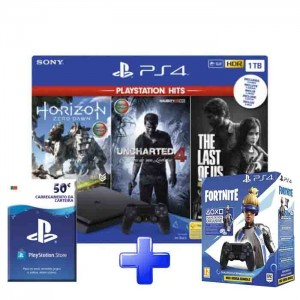 Consola Sony PlayStation 4 PS4 Slim 1TB Pack PlayStation Hits + Horizon Zero Dawn + Uncharted 4 + The Last of US + PSN 1 Ano + DS Fortnite