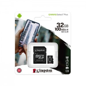 Micro SDHC 32GB Kingston Canvas Select Plus + Adaptador Full-Size SD