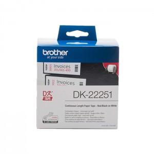 Rolo de Etiquetas Brother DK-22251 Vermelho/Preto para Impressora