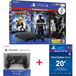 Consola Sony PS4 Slim 1TB Pack PlayStation Hits: Ratchet & Clank + Uncharted 4 + The Last of US + DS4 Black + PSN 20€