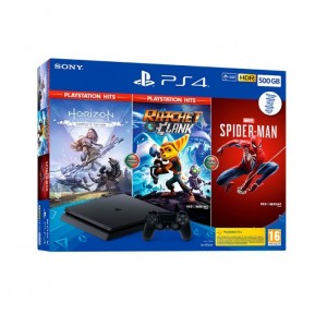 Consola Sony PlayStation 4 PS4 Slim 500GB Pack PlayStation Hits + Ratchet & Clank + Horizon Zero Dawn + Spider-Man